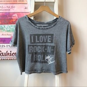 BRAVADO Love Rock N Roll Womens Crop Tee XL
